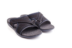 New black men's sandals isolated on white Royalty Free Stock Photo