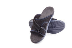 New black men's sandals isolated on white Royalty Free Stock Photography