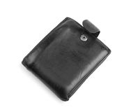 A new black men`s wallet, isolated on a white background. A lot of money in the leather purse. Beautiful male`s accessories. Royalty Free Stock Image