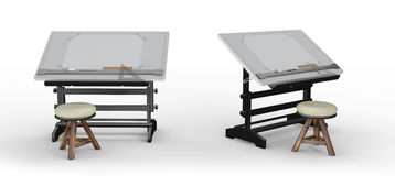 New black metallic drawing table with tools and  stool , clippin Royalty Free Stock Photos