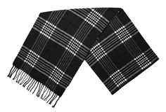 New Black and White Plaid Wool Scarf. Isolated on white background Stock Images