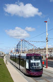 New Blackpool Tram near Pleasure Beach. Stock Image