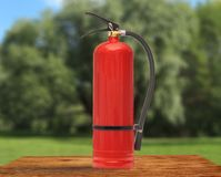 New blank red fire extinguisher Stock Photo