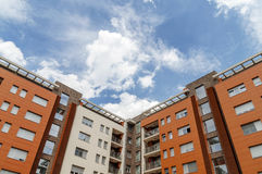 New block of modern apartments and blue sky Royalty Free Stock Image