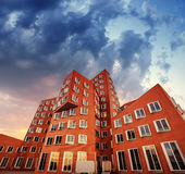 The new block of modern flats and blue sky Royalty Free Stock Images