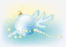 New blue background with Christmas ball. New Year background with Christmas tree ball and a fir branch Stock Image