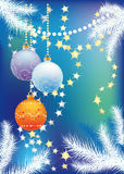 New blue background with Christmas tree balls. New blue background with fir branches and Christmas balls vector illustration