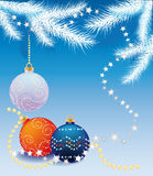 New blue background with Christmas tree balls. New blue background with snow-covered fir branches and balls vector illustration