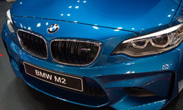 New blue BMW M2 model at the Belgrade Motor Show Royalty Free Stock Photo