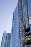 New Blue Curved Tower Construction Stock Photo