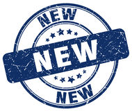 New blue grunge round stamp Royalty Free Stock Image