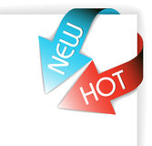 New blue and hot red corner ribbon Stock Images