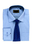New blue man's shirt and Tie isolated on white Royalty Free Stock Image