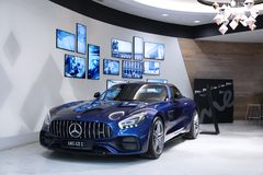 New blue Mercedes-AMG GT. Moscow. Shopping center VEGAS. 27.07.2 Stock Image