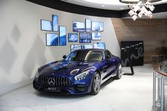 New blue Mercedes-AMG GT. Moscow. Shopping center VEGAS. 27.07.2 Stock Photos
