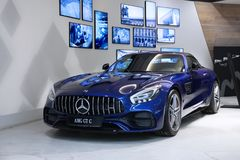 New blue Mercedes-AMG GT. Moscow. Shopping center VEGAS. 27.07.2 Stock Photo