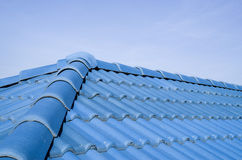 New blue roof with ceramic tiles Royalty Free Stock Photos
