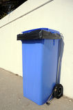 New blue rubbish bin, Spain. Stock Image