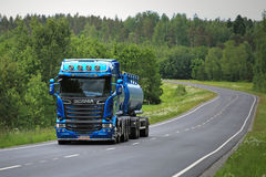 New Blue Scania R580 Tank Truck on the Road Stock Photo