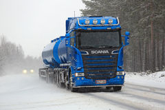 New Blue Scania R580 Tank Truck in Snowfall Stock Photo