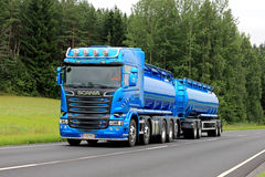 New Blue Scania R580 Tank Truck on Summer Road Stock Photos