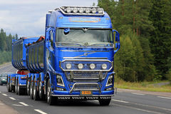 New Blue Volvo FH Show Truck on the Road Stock Images