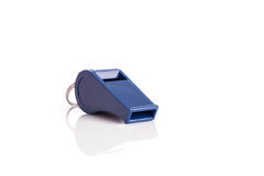 New blue whistle isolated on white background Royalty Free Stock Photography