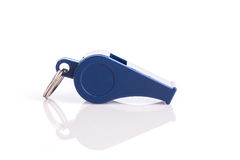 New blue whistle isolated on white background Royalty Free Stock Images