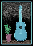 New Blues Guitar A1. Unique airbrush artwork of a blue guitar next to potted plant stock illustration