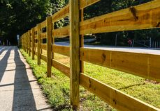 Free New Board Fence By Trail Royalty Free Stock Image - 159436666