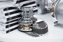 New boat windlass for anchoring close up Royalty Free Stock Images