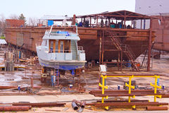 New boats. Ships in the production of shipyard depot,  photography Royalty Free Stock Photos