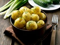 New boiled potatoes with dill Royalty Free Stock Photography
