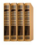 New books in retro style, exposed in a row, on a white isolated stock photo