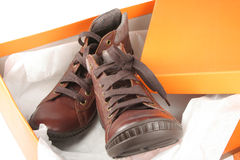 New boots in a box Stock Photography