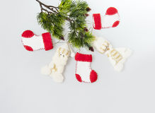 New boots and Santa Claus on the Christmas tree Royalty Free Stock Photography