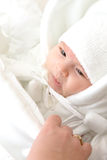 New born. Baby girl dressed in white royalty free stock photos