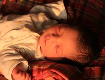 New born asian baby girl in sun light Royalty Free Stock Images