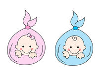 New born babies. Two newborn babies [girl and a boy] illustration isolated on white background Royalty Free Stock Images
