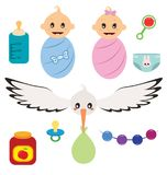 New born babies. Elements set. Vector illustration Royalty Free Stock Images