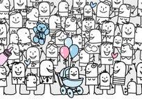 New born baby. Hand drawn cartoon annoucement card - new born baby royalty free illustration