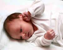 New born baby. A  new born baby with opened eyes Royalty Free Stock Images