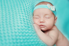 New born baby asleep. New born infant child baby asleep stock image