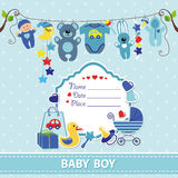 New born baby boy card shower invitation template Stock Image