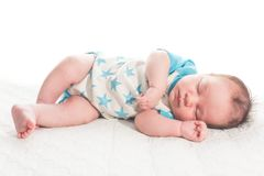 New Born Baby Boy Sleeping Stock Photo