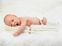 New Born Baby Boy Yawning On Fur Blanket Stock Image