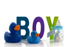 New born baby card with sweet and bottle and ducks Royalty Free Stock Photography