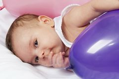 New born baby face close up Stock Photo