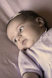 New Born Baby Girl. Lying on a blanket Royalty Free Stock Photo