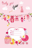 New born baby girl card shower invitation. New born Baby girl invitation shower card.Flat elements hanging on rope,label,stork.Vector scrapbook decor.Greeting Stock Photos